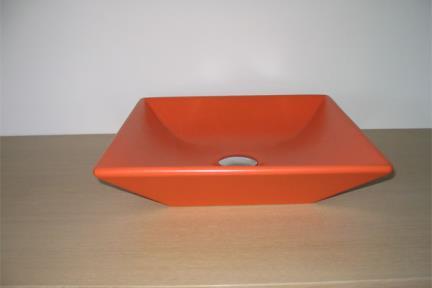 כיור צבעוני לאמבטיה 7518. מידה: 36.5X36.5  כיור מונח  צבע: כתום מט