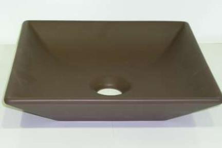 כיור צבעוני לאמבטיה 7511. מידה 36.5X36.5  כיור מונח מעל משטח  צבע: חום מט