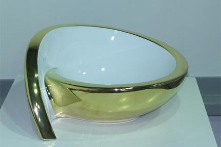 כיור צבעוני לאמבטיה 7099. מידה: 52X44  כיור מונח  צבע: פנים לבן\חוץ זהב