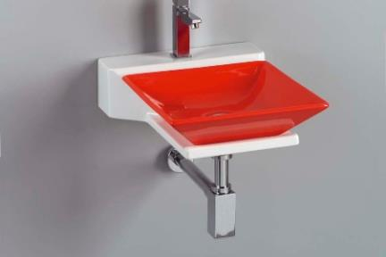 כיור צבעוני לאמבטיה 7503. מידה: 36.5X36.5  כיור מונח  צבע: אדום מבריק