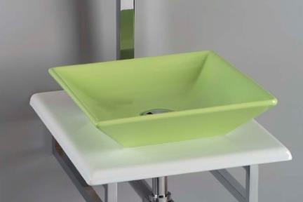 כיור צבעוני לאמבטיה 7506. מידה 36.5X36.5  כיור מונח מעל משטח  צבע: ירוק מבריק