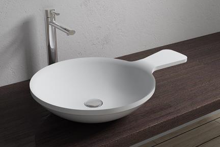 כיור מונח לחדר אמבטיה L622MT. כיור מונח מחבת עגול - אבן מלאכותית - לבן מט  גודל: 65