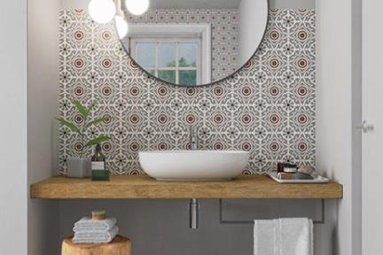 אריחי וינטג' לחיפוי קיר מסדרת Toscana 16001. R10 ענתיקה אפור לבן חום  גודל: 16.5*16.5  נגד החלקה