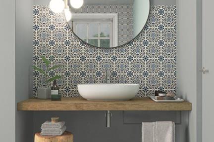 אריחי וינטג' לחיפוי קיר מסדרת Toscana 16002. R10 ענתיקה אפור כחול לבן  גודל: 16.5*16.5  נגד החלקה