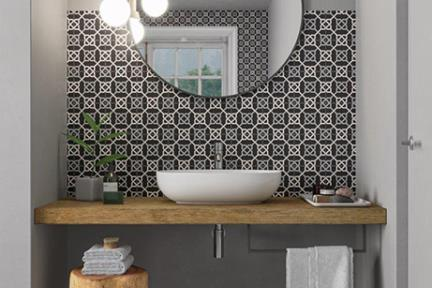 אריחי וינטג' לחיפוי קיר מסדרת Toscana 16009. R10 ענתיקה שחור לבן  גודל: 16.5*16.5  נגד החלקה