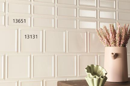 אריחי וינטג' לחיפוי קיר בסגנון עתיק 13131 + 13651. דגם 13131: קרם מסגרת קרקלה גודל: 13*13  דגם 13651: קרם מסגרת בולטת קרקלה גודל: 13*6.5