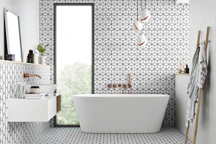 אריחי ריצוף וינטג' סדרת Hexagon 26510. מחולק למשושים רקע לבן קונטור שחור  גודל: 51*26.5