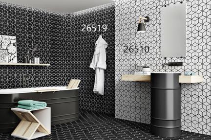 אריחי ריצוף וינטג' סדרת Hexagon 26519. מחולק למשושים רקע שחור קונטור לבן  גודל: 51*26.5
