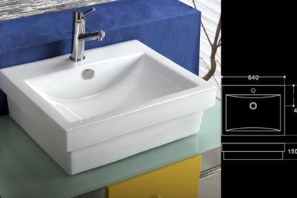 כיור מונח לחדר אמבטיה L5528. כירם מונח/כיור שולחנים.  מידה 54X45  צבע -לבן  כיור מונח- חצי בפנים