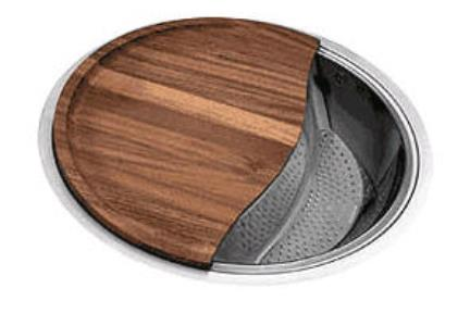 כיור למטבח עשוי נירוסטה NR304. כיור נירוסטה עגול בהתקנה שטוחה,מסופק עם קרש חיתוך סוגר כיור.  עומק כיור 22.5 סמ