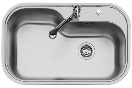 כיור למטבח עשוי נירוסטה NR103. כיור נירוסטה 80X51  התקנה שטוחה  עומק כיור 21.5 סמ