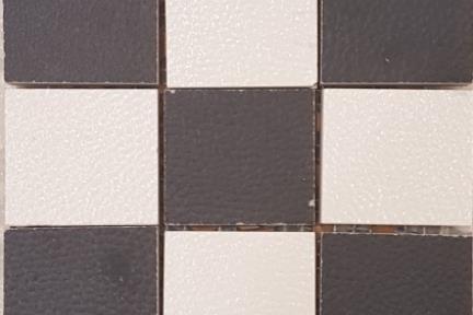 אריחי פסיפס לחיפוי קיר מקרמיקה 3623. פסיפס קרמיקה דמוי עור  דומינו שחור-לבן  5X5 על רשת 30X30