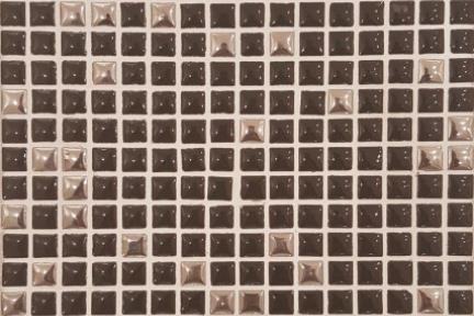 אריחי פסיפס לחיפוי קיר מקרמיקה 3014. פסיפס 1X1  על רשת 30.5X30.5  צבעים: שחור+כסף