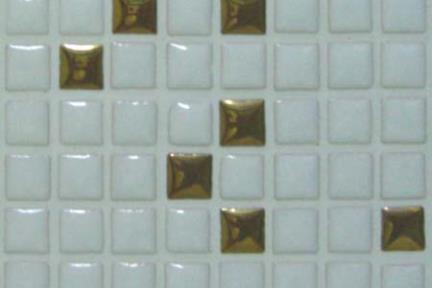 פסיפס 3013. פסיפס 1X1  על רשת 30.5X30.5  לבן+זהב