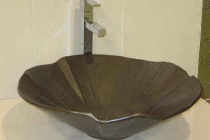 כיור צבעוני לאמבטיה 7852. כיור פרח צדף  קוטר 49  צבע מטאלי