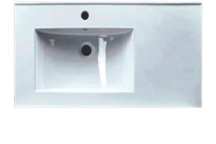 כיור מונח לחדר אמבטיה L6592SL. כיור שולחן לבן  משטח בצד ימין  מידה 90X46