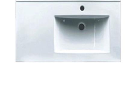 כיור מונח לחדר אמבטיה 6592SR. כיור שולחן לבן  משטח בצד שמאל  מידה 90X46