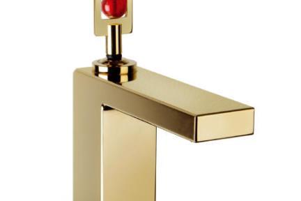 ברז Bongio סדרת Bongio Gold 48521. ברז זהב  ידית עם זכוכית  הזכוכית קיימת בכמה צבעים  לפי הזמנה מיוחדת.