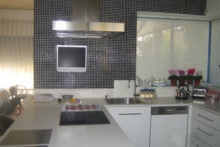 מטבח. מטבח עפ פסיפס שחור  עיצוב: גילי רשף-גול