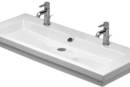 כיור קיר תלוי לאמבטיה B120. כיור 120X50 לבן  משמש כיור קיר  וגם מעל משטח  מגיע עם 2 חורים לברז