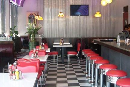 JOE DINER. מסעדת JOE DINER  ריצוף 30X30  אפור בהיר-שחור