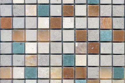 פסיפסי אבן- רב צבע. 1.5x1.5 מלוטש