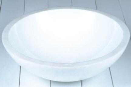 """כיור אמבטיה מונח עשוי זכוכית GG4320. כיור זכוכית לבן  קוטר 42 ס""""מ"""