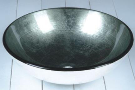 """כיור אמבטיה מונח עשוי זכוכית GG4321. כיור זכוכית-צבע כסף  קוטר 42 ס""""מ"""