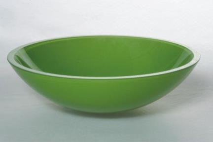כיור אמבטיה מונח עשוי זכוכית GG4323. כיור זכוכית ירוק  קוטר 42
