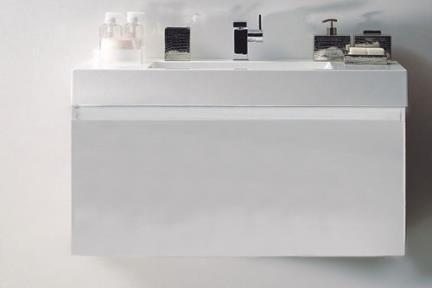 ארונות אמבטיה לאחסון  6110-1. ארון לבן+כיור אקרילי  מידה: 100X55  מגירה ראשית+מגירה פנימית