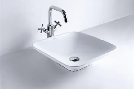 כיור מונח לחדר אמבטיה B255. כיור מונח 48X48  לבן