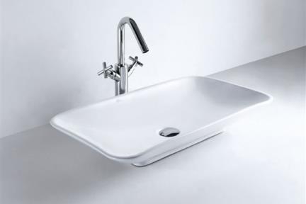 כיור מונח לחדר אמבטיה B260. כיור מונח 70X39  לבן  <