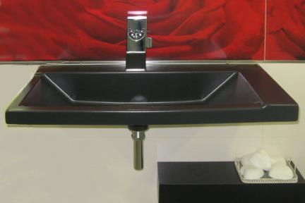 כיור מונח לחדר אמבטיה 8219. כיור על משטח-חצי בפנים  יכול גם להיות כיור קיר  מידה 80X38  שחור מט