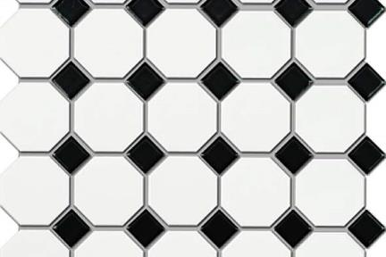 אריחי פסיפס לחיפוי קיר מקרמיקה 1074155. פסיפס קרמי  מתומן לבן מט  בפנים ריבועים-שחור מבריק  גודל רשת: 29.5X29.5