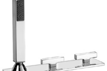 ברז Bongio מסדרת Domino 43529P. אינטרפוץ 4 דרך ממשטח  +צנור+מזלף  סידרה דומינו