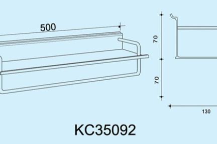 """אביזרי תליה למטבח KC35092. מדף 50 ס""""מ + מוט תליה למגבת  ***נדרשת מסילה לתלית המתקן"""