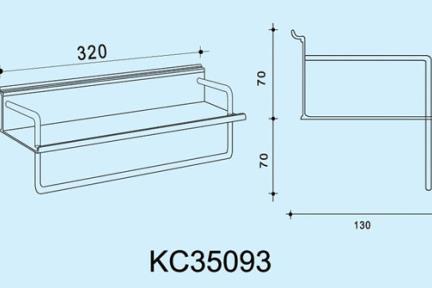 """אביזרי תליה למטבח KC35093. מדף 32 ס""""מ למטבח  +מוט תליה למגבת   ***נדרשת מסילה לתלית המתקן"""