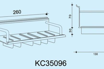 """אביזרי תליה למטבח KC35096. מתקן תלוי לסכינים  אורך 26 ס""""מ  ***נדרשת מסילה לתליית המתקן"""