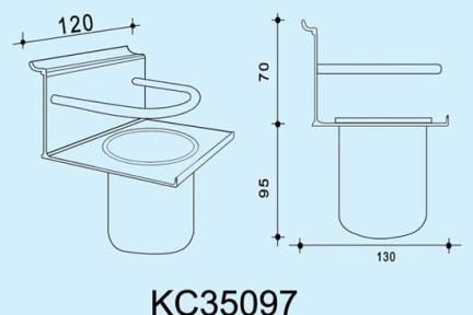 """אביזרי תליה למטבח KC35097. מתקן כוס תלוי לסכום במטבח  אורך 12 ס""""מ  ***נדרשת מסילה לתליית המתקן"""