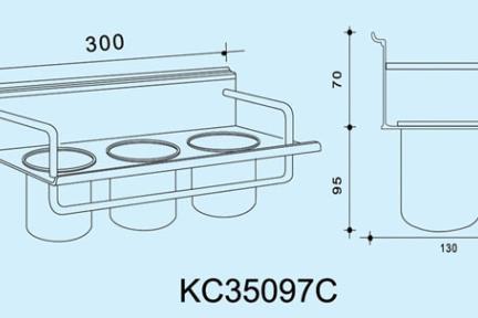 """אביזרי תליה למטבח KC35097C. מתקן תלוי 3 כוסות לסכו""""ם   אורך: 30 ס""""מ  ***נדרשת מסילה לתליית המתקן"""