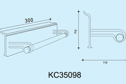 """אביזרי תליה למטבח KC35098. מתקן תליה לנייר מגבת 30 ס""""מ   ***נדרשת מסילה לתליית המתקן"""