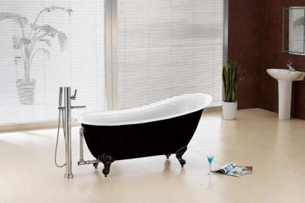 אמבטיה במראה עתיק BT459. אמבטיה אקרילית  שחור-לבן  מידה :155X76