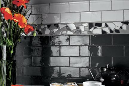 אריחים למטבח מקרמיקה 971626. קרמיקה ענתיקה למטבח בצבע שחור-גרפיט  מידה 7.5*15