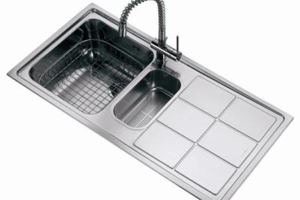 כיור למטבח עשוי נירוסטה NR116SL. כיור נירוסטה שמאל + משטח ימין.