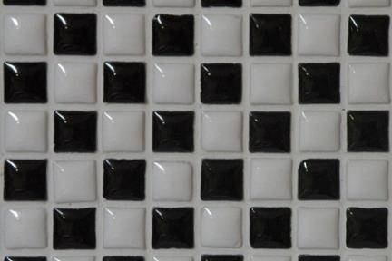 אריחי פסיפס לחיפוי קיר מקרמיקה 3023. פסיפס אפור-שחור-בז-לבן 1*1.  גודל: 30.5*30.5.