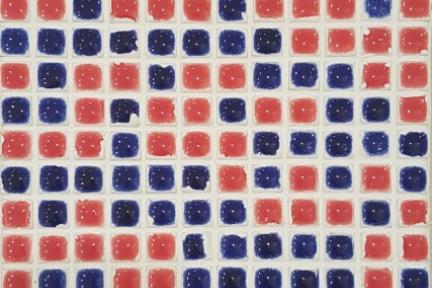 אריחי פסיפס לחיפוי קיר מקרמיקה 3025. פסיפס טיפות כחול-אדום 1.2.  גודל: 30*30.