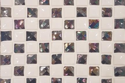 אריחי פסיפס לחיפוי קיר מקרמיקה 3026. פסיפס דומינו כחול-לבן 1.5.  גודל: 32.7*32.7