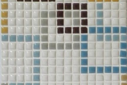 אריחי פסיפס לחיפוי קיר מקרמיקה 3028. פסיפס מסגרות לבן-כחול-חום 1*1.  גודל: 30.5*30.5.