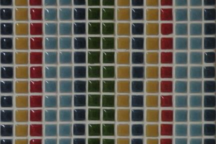אריחי פסיפס לחיפוי קיר מקרמיקה 3029. פסיפס רצועות כחול-אדום-ירוק 1*1.  גודל: 30.5*30.5.
