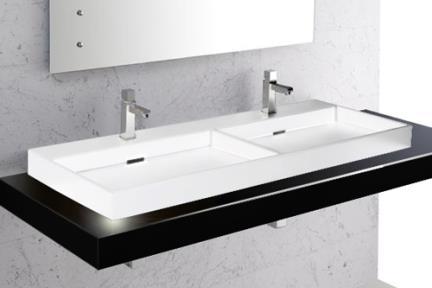 כיור מונח לחדר אמבטיה B1200. כיור על כפול לבן.  גודל:45*120.